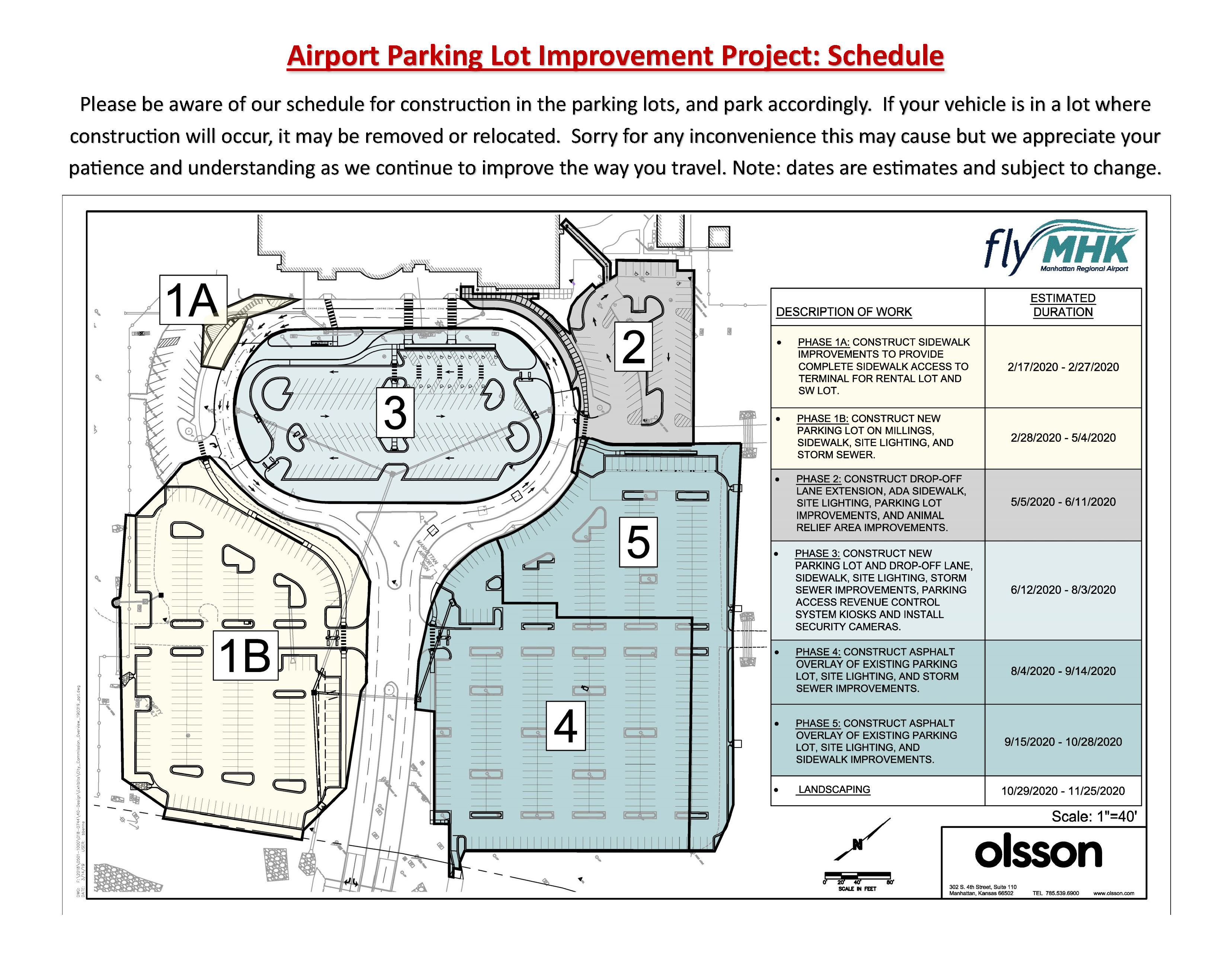 MHK Terminal Parking Lot Improvement Schedule for public